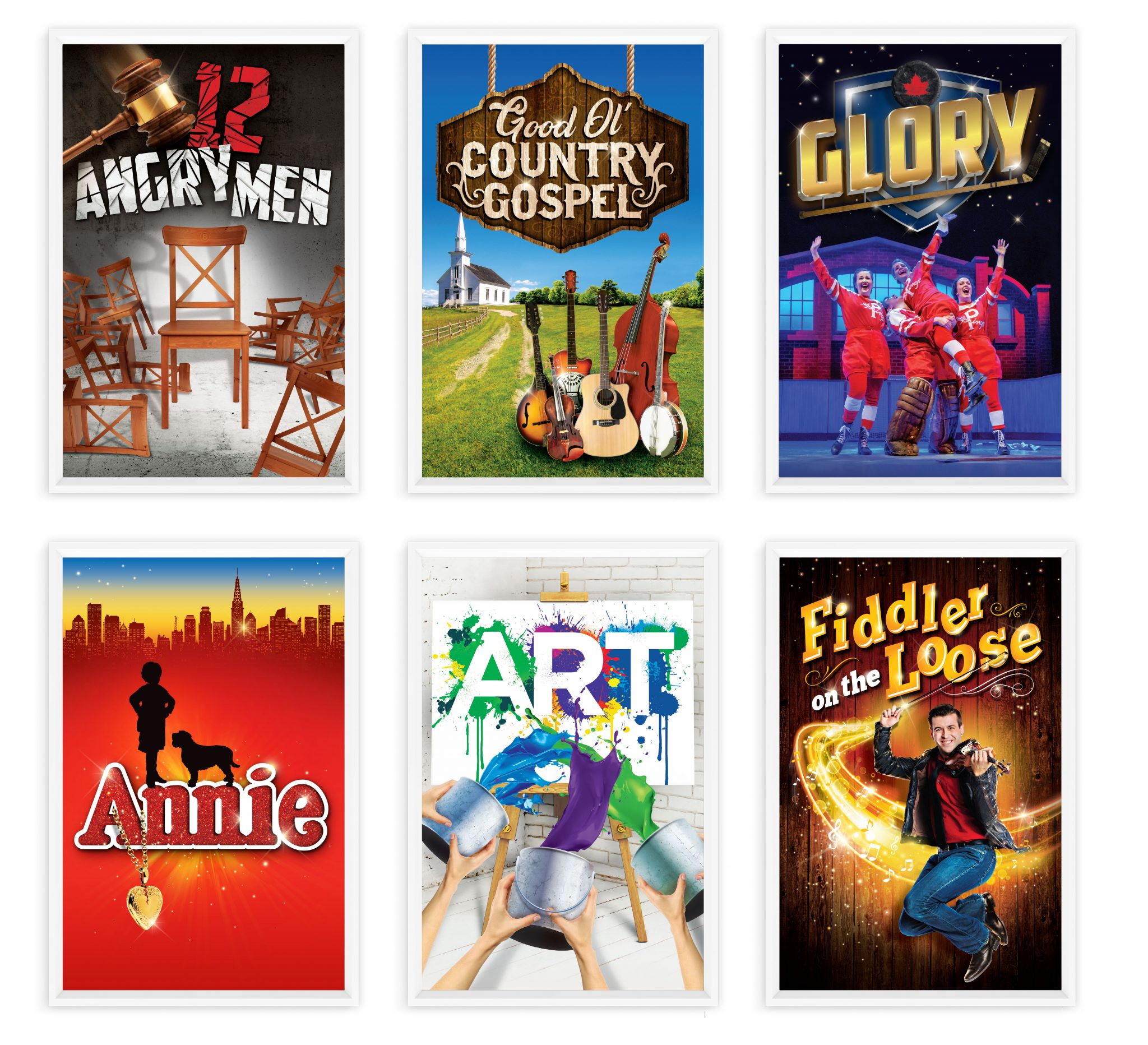 Production posters for 12 Angry Men, Good Ol' Country Gosepl, Glory, Annie, Art, and Fiddler on the Loose.