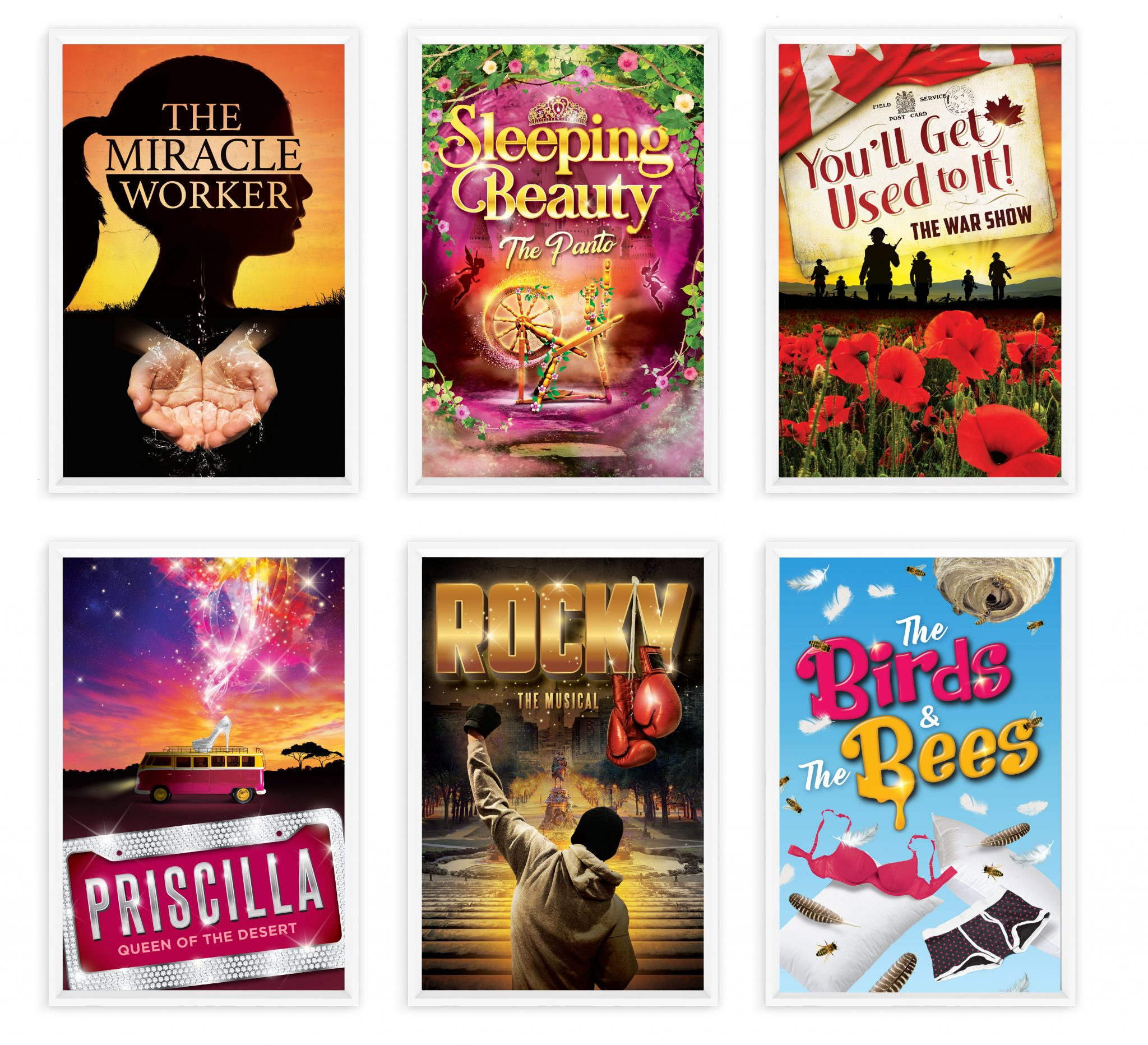 Production posters for The Miracle Worker, Sleeping Beauty, The War Show, Priscilla: Queen of the Desert, Rocky: The Musical, and The Birds & The Bees.