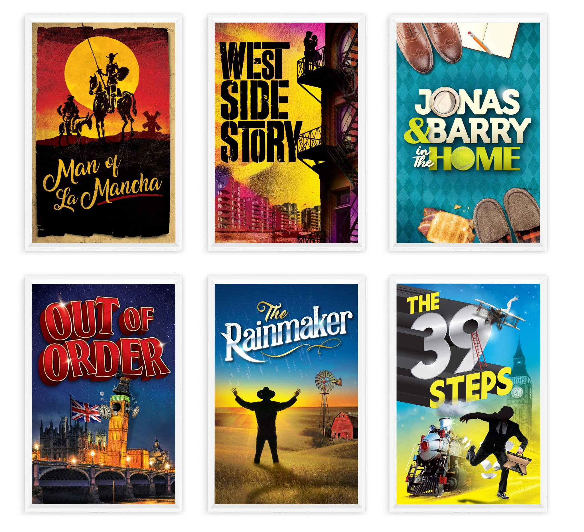 Production posters for Man of La Marcha, West Side Story, Jonas & Barry in the Home, Out of Order, The Rainmaker, and The 39 Steps.