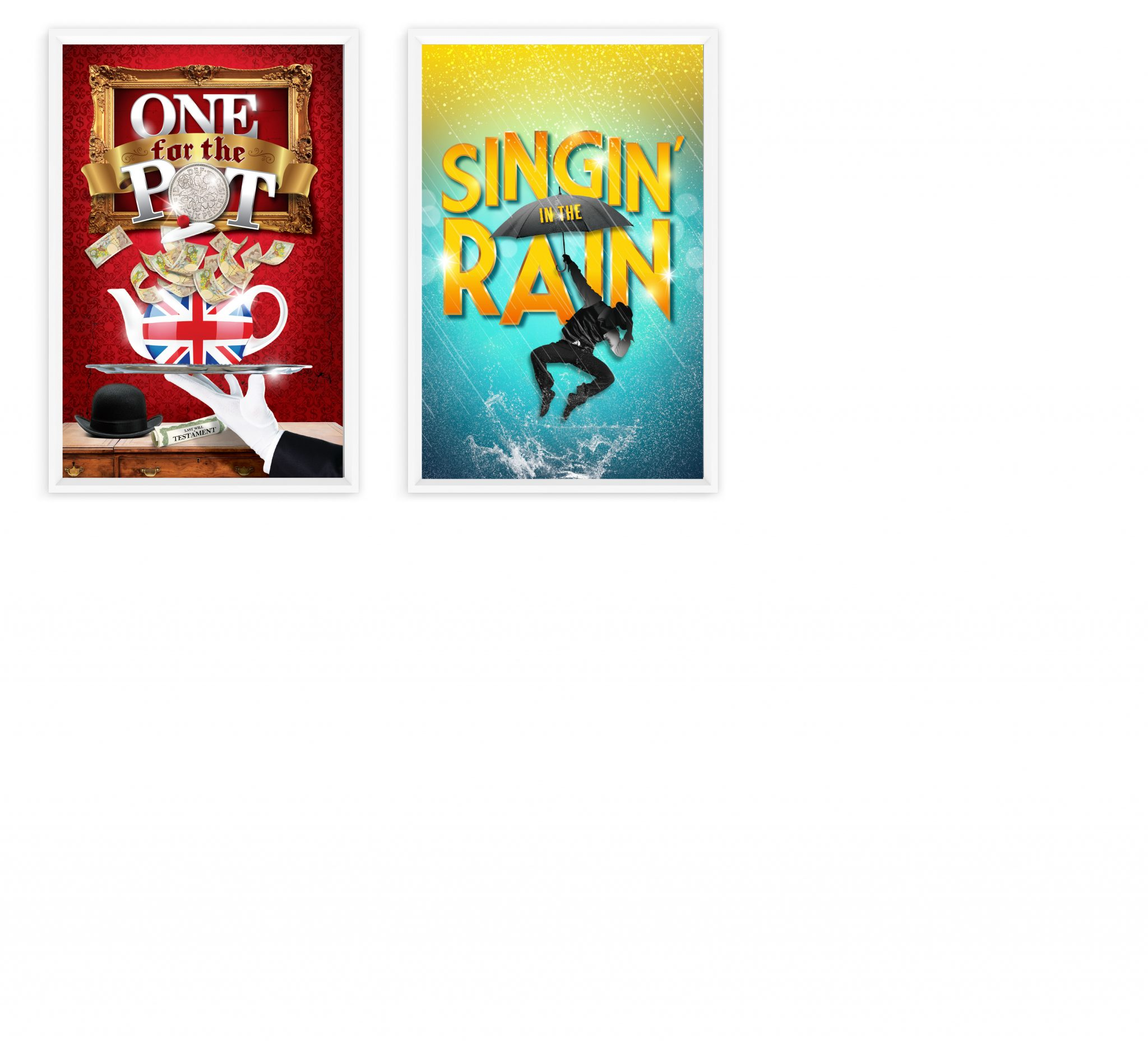 Production posters for One for the Pot and Singing in the Rain