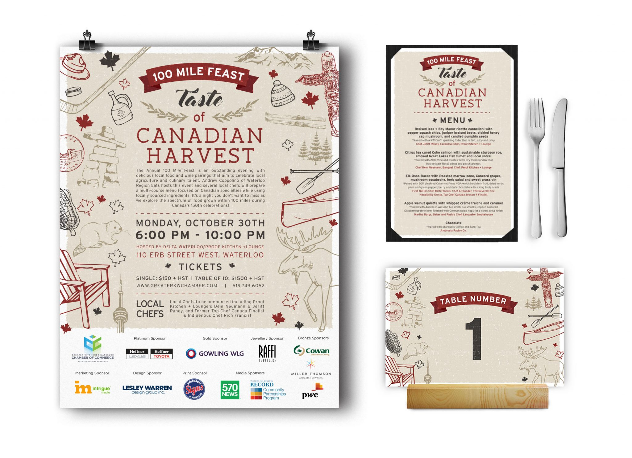 100 Mile Feast, Canadian Harvest menu, poster, and table number.
