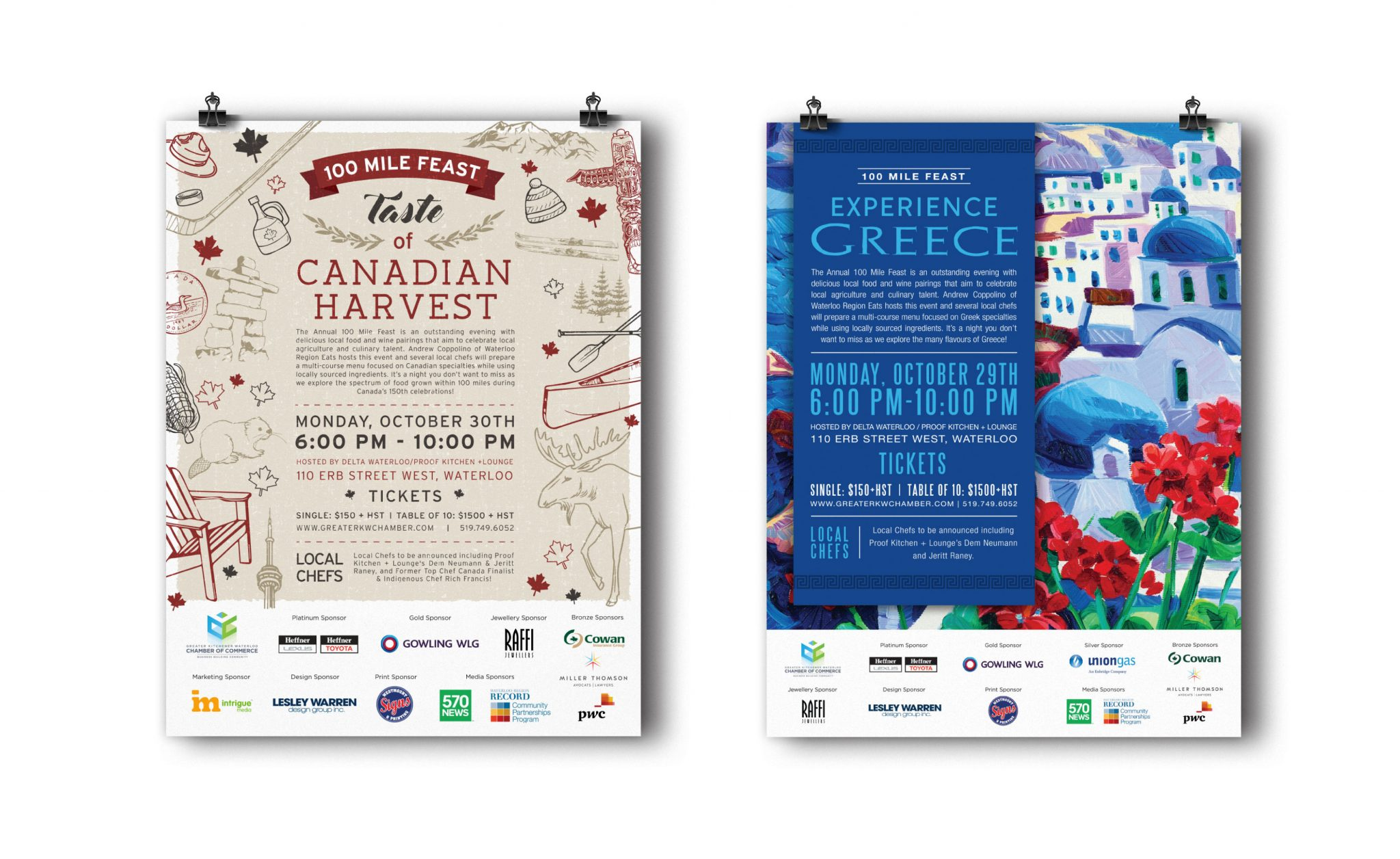 100 Mile Feast Canadian Harvest and Experience Greece Posters