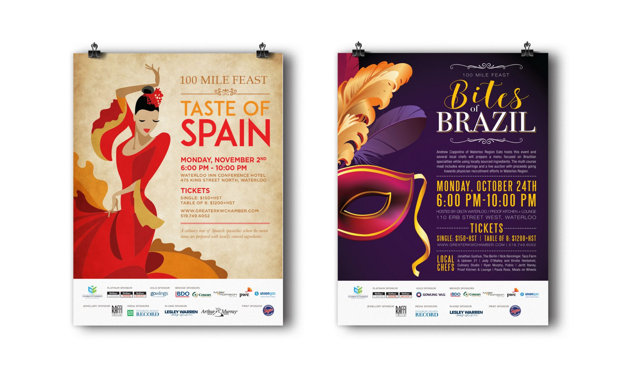100 Mile Feast Taste of Spain and Bites of Brazil posters.
