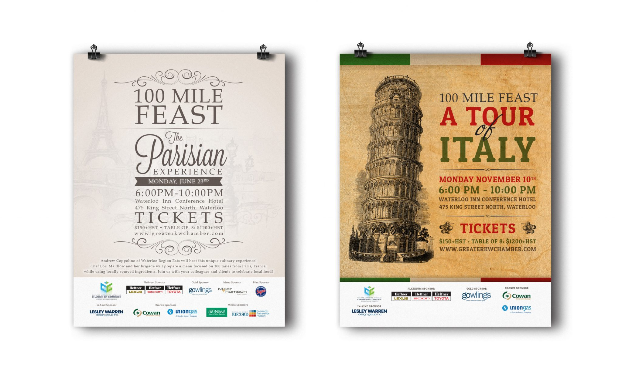 100 Mile Feast The Parisian Experience and a Tour of Italy posters.