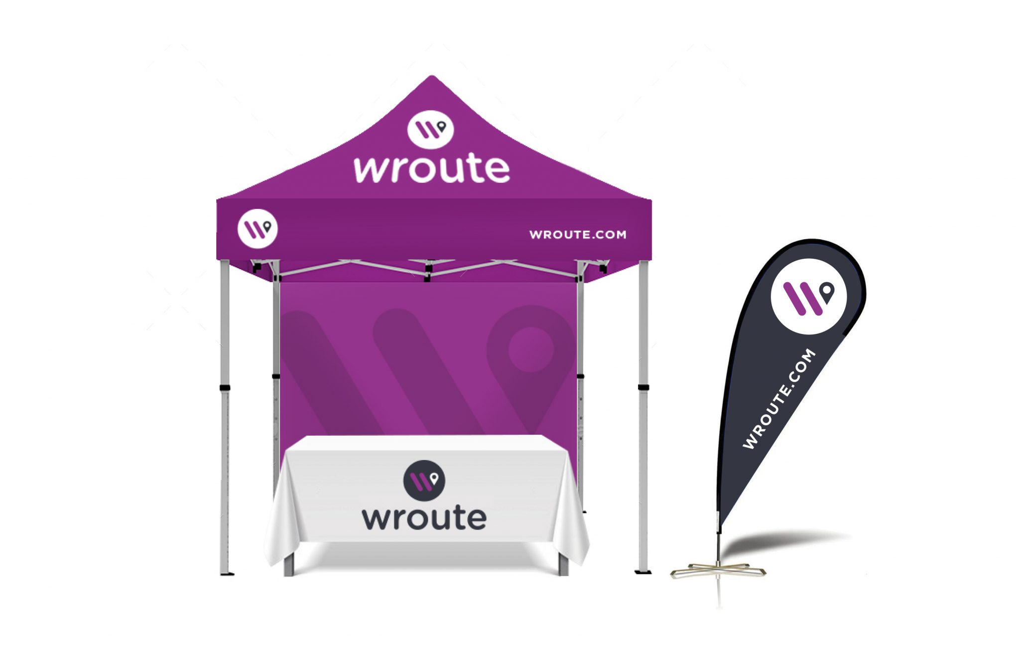 Wroute booth, tent and flag