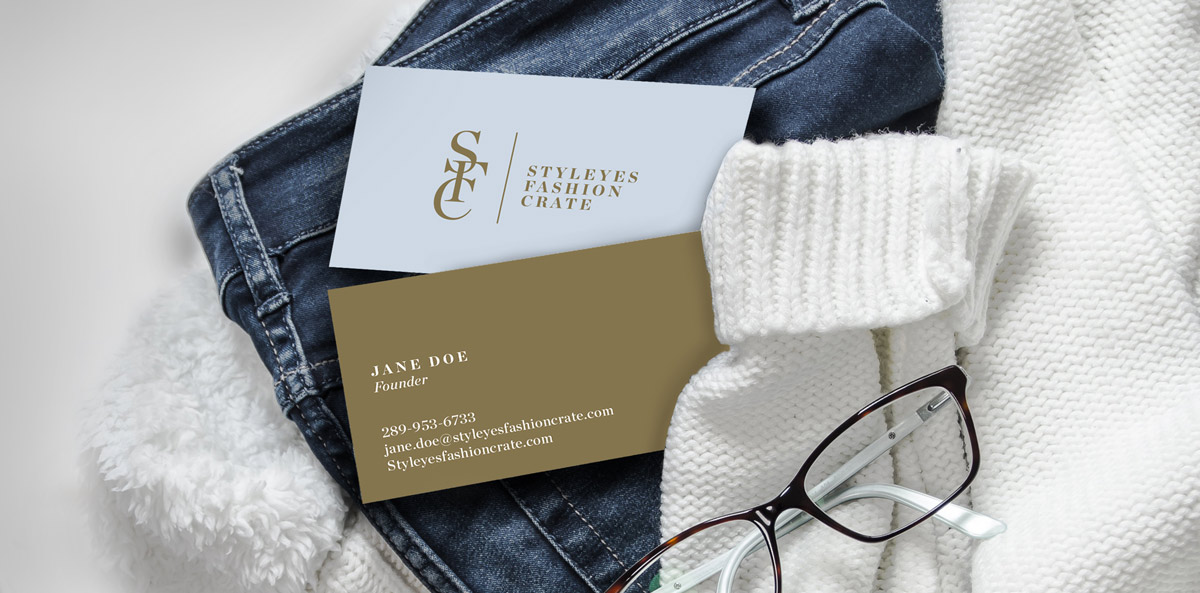 Styleyes business card on clothing
