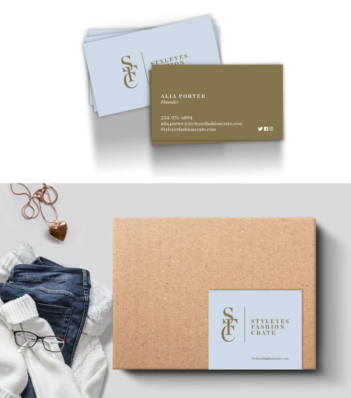 Styleyes business cards and crate package design