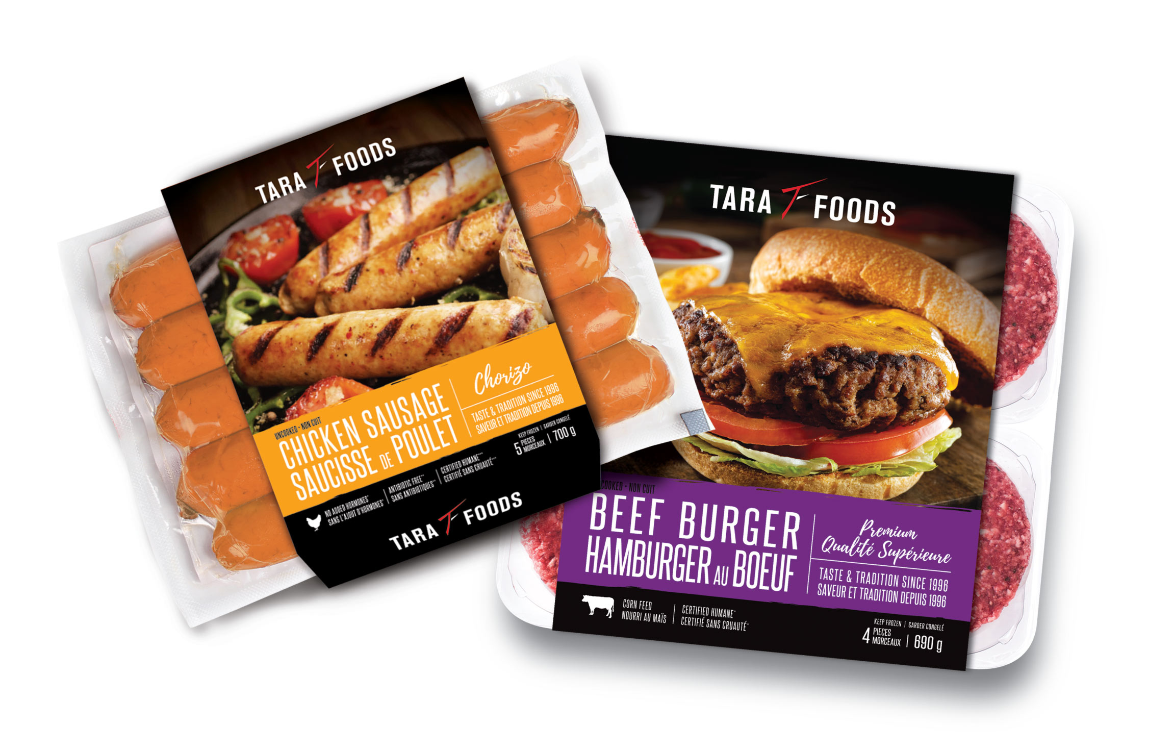Tara Foods Chicken Sausage and Beef Burger Package Design